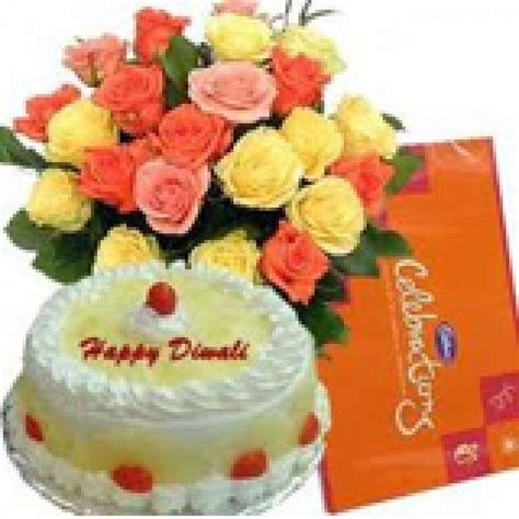 Send Gifts n Flowers for Diwali Birthday more Cakes