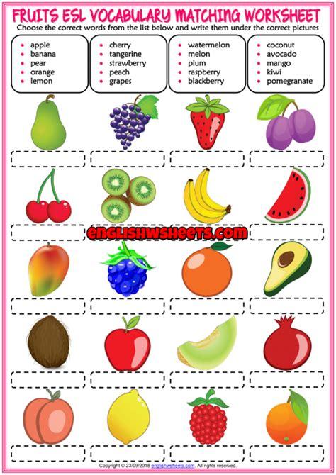 Set 1 Fruits Colours Worksheets English for Kids ESL