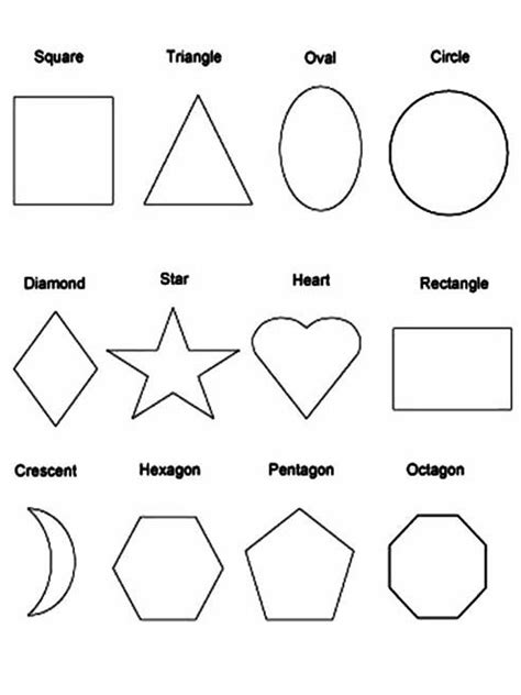 Shapes coloring pages Printable educational coloring