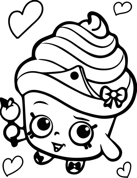 Shopkins Cupcake Black White Queen Get Coloring Pages