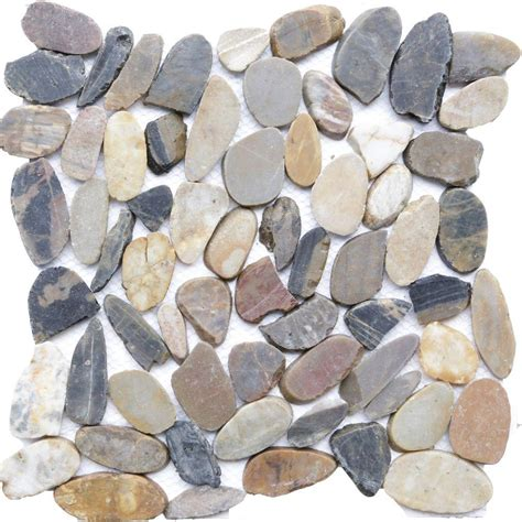 Sienna Mosaic 12 in x 12 in Sliced Natural Pebble Stone
