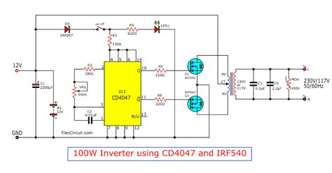 Simple 100W inverter circuit Electronic Circuits and