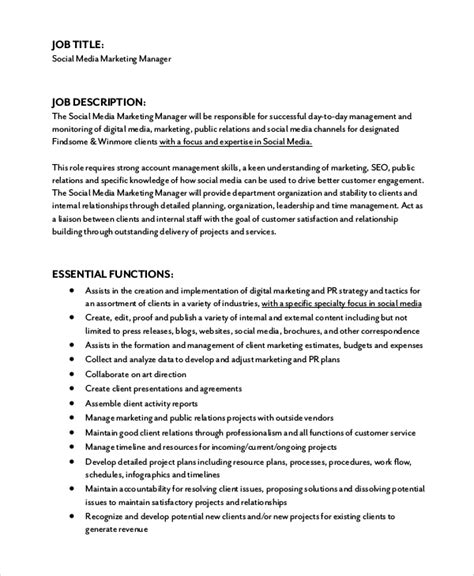 Social Media Marketing Manager Job Description echogravity