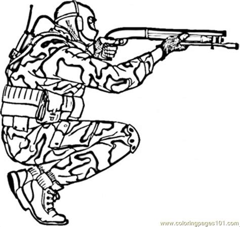 Soldier in Camouflage coloring page Free Printable