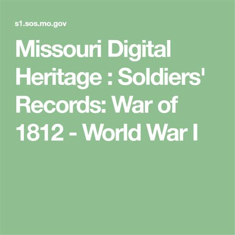 Soldiers Records War of 1812 World War I sos mo gov