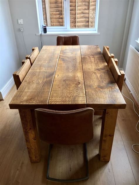 Solid Wood Oak Dining Tables Rustic Chunky