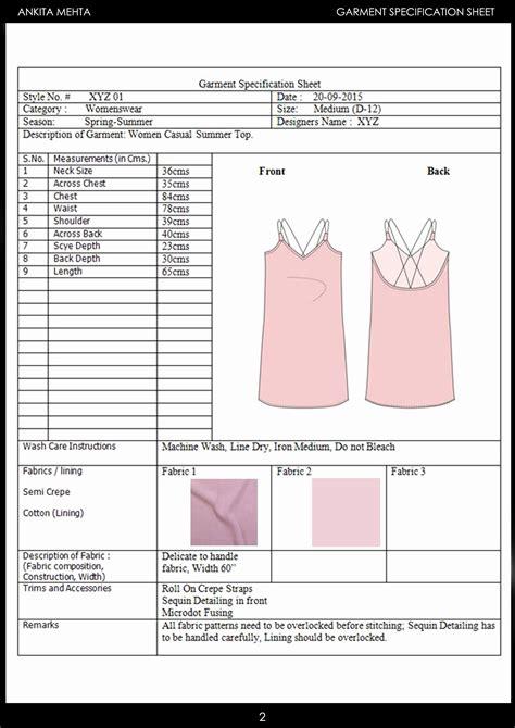 Spec Sheet Template Clothing Fashion Line Sheets