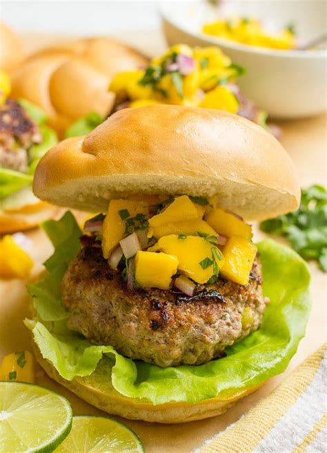 Spicy pork burgers with mango salsa Family Food on the Table