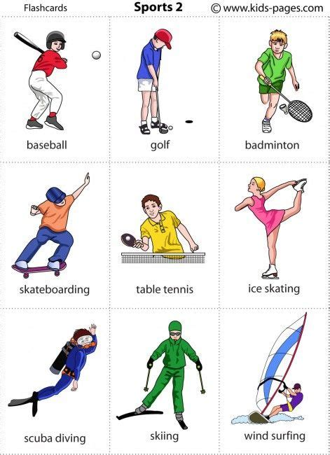 Sports flashcards kids pages