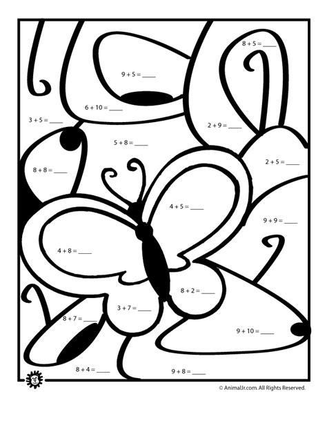 Spring Math Worksheets Addition Color by Number Animal Jr
