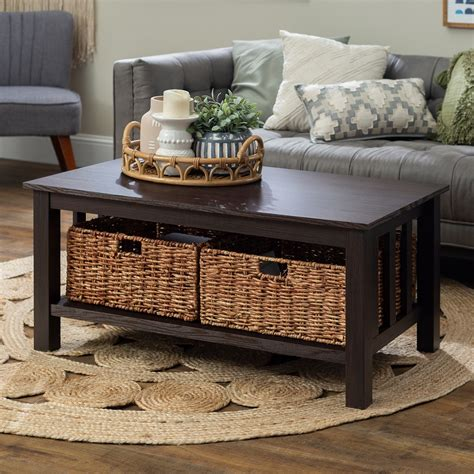 Square Coffee Table With Basket Storage Sears