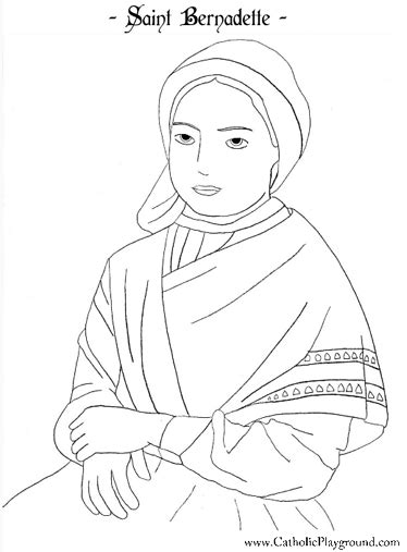 St Bernadette coloring page February 18th Catholic