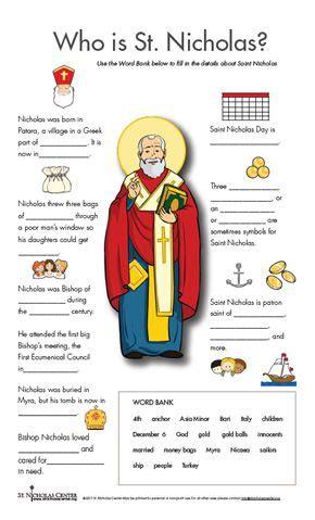St Nicholas Center Activities to Print