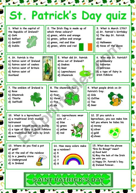 St Patrick s Day Printable Worksheets page 1 abcteach