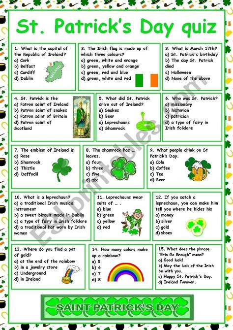 St Patrick s Day Vocabulary Word List Enchanted Learning