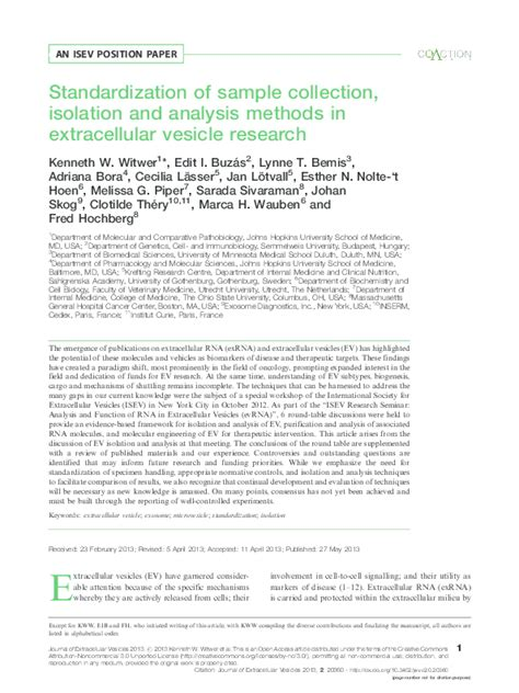 Standardization of sample collection isolation and