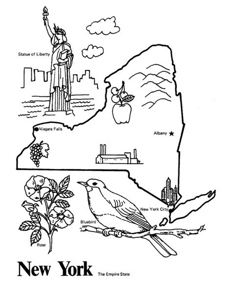 State of New York Coloring Page Sheets USA Printables