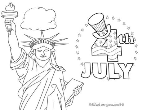 Statue of Liberty 4th of July coloring pages