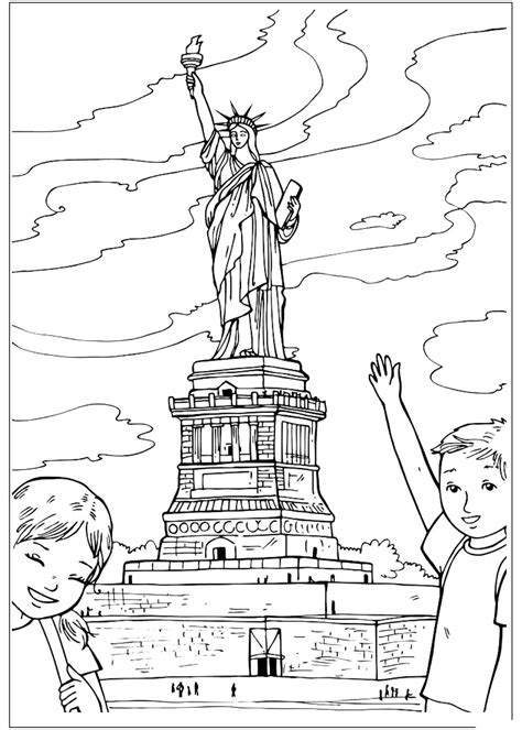 Statue of Liberty Coloring Page Flag Day fun printable