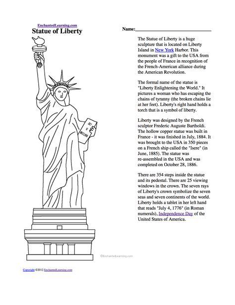 Statue of Liberty Quiz Worksheet EnchantedLearning