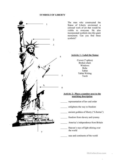 Statue of Liberty Worksheet Education