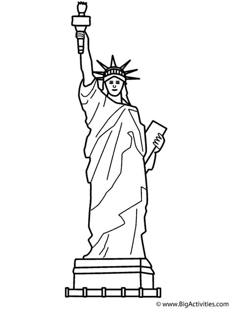 Statue of Liberty with theme Coloring Page Memorial Day