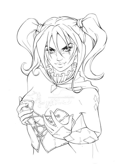 Steampunk Harley Quinn coloring page Free Printable