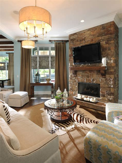 Stone Fireplace And Tv Houzz