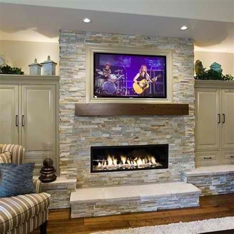 Stone Fireplace Ideas with Television Above 20 Amazing
