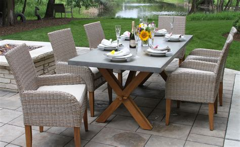Stone Wicker and Teak Outdoor Table Settings for Sale