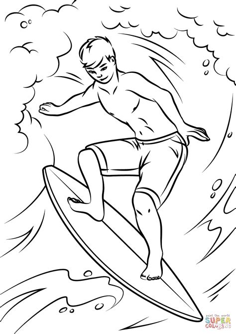 Surfing Coloring Page Boy Surfing On Huge Wave