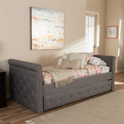 Swamson Fabric Tufted Twin Size Daybed With Roll Out