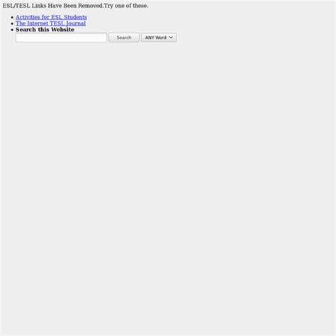TESL TEFL TESOL ESL EFL ESOL Links ESL Vocabulary Lists