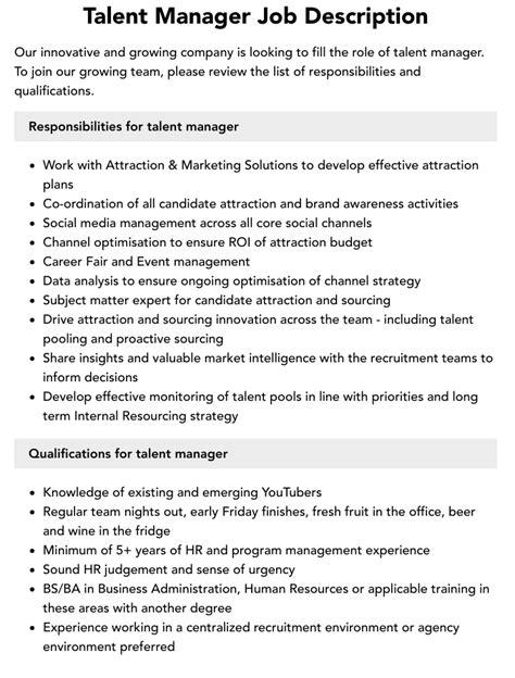 Talent Manager Job Description Duties and Requirements