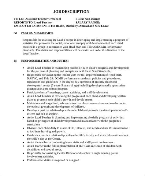 Teacher s Assistant and Aide Job Description Job