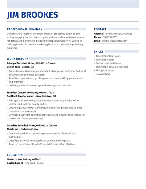 Technical Resume Writing Examples Samples resume