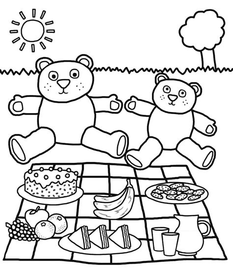 Teddy Bears Picnic Colouring Pages teddy bear colouring