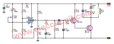 Temperature controlled on off relay circuit using LM393