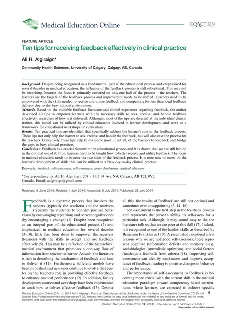 Ten tips for receiving feedback effectively in clinical