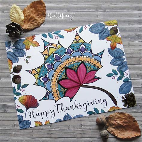 Thanksgiving Mandala Autumn Leaf Placemat Coloring Page