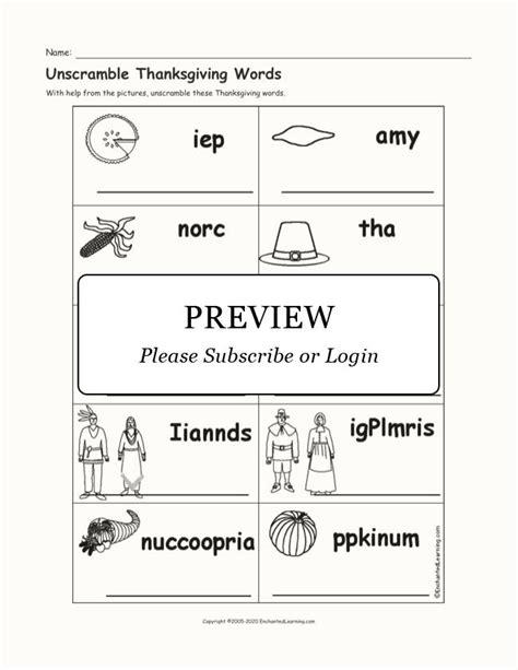 Thanksgiving Vocabulary Word Bank EnchantedLearning