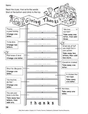 Thanksgiving Word Ladder