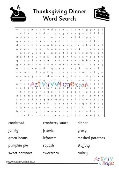 Thanksgiving Word Puzzles Activity Village