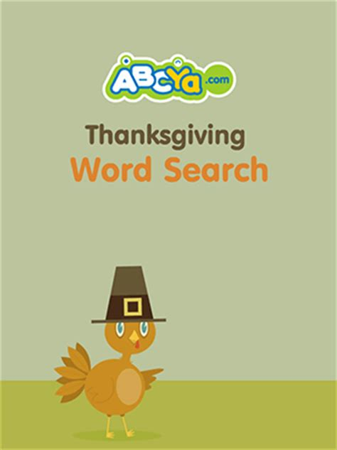 Thanksgiving Word Search ABCya