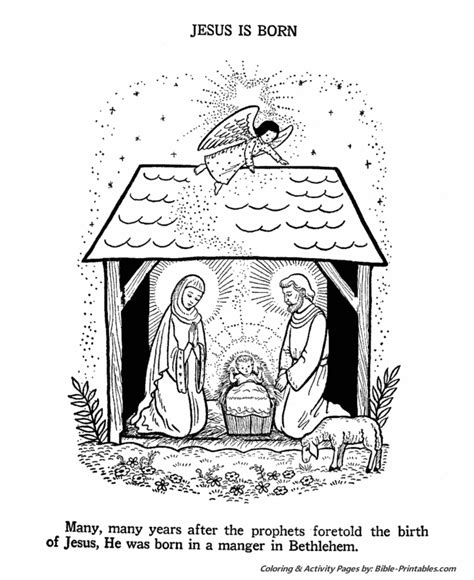 The Birth of Jesus Coloring Pages Bible Printables