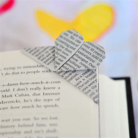 The Cheese Thief Book Page Corner Heart Origami Bookmark