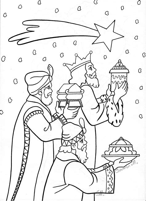 The Christmas Story Coloring Pages Three Wise Men