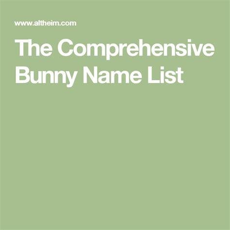 The Comprehensive Bunny Name List Altheim