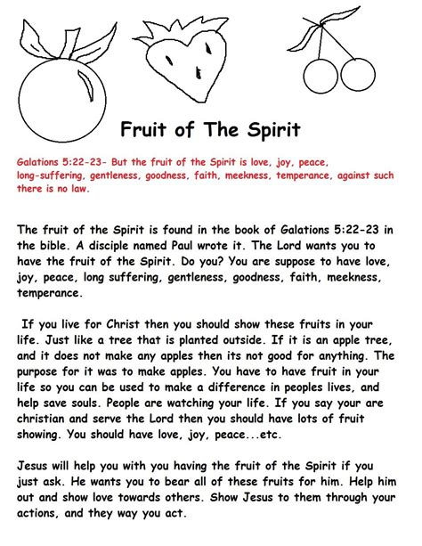 The Fruit of the Spirit Bible Lesson Plan