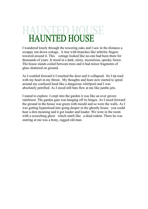 haunted house descriptive essay